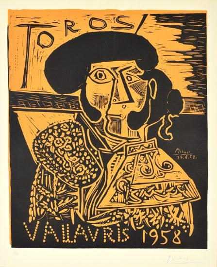 Pablo Picasso Linocut, Toros Vallauris (Bulls in Vallauris), 1958