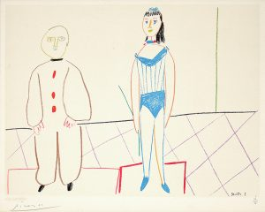 Pablo Picasso Lithograph, Clowne et acrobate (Clown and Acrobat) / One Plate, from Verve Nos 29-30, 1954