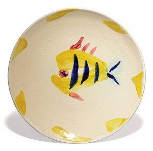 """Pablo Picasso Ceramic, """"Fish"""" Service, Plate Q, 1947 A.R. 20"""