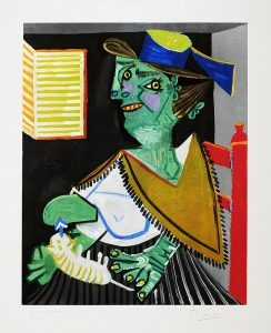 Pablo Picasso Lithograph, Femme verte au chat (Green Woman with Cat)