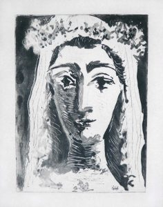 Pablo Picasso Aquatint, Jacqueline en Mariée (Jacqueline, Married), 1961