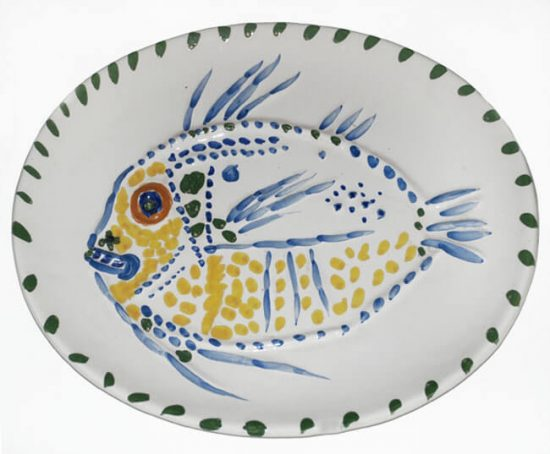 Pablo Picasso Ceramic, White Ground Fish, 1952