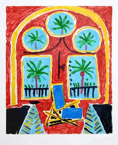 Pablo Picasso Aquatint, Interieur Rouge avec Transatlantique Bleu, circa 1959-1960