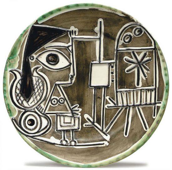Pablo Picasso Lithograph, Jacqueline au chevalet (Jacqueline at the Easel), 1956