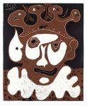 Pablo Picasso Linocut, Tête de Bouffon, Carnaval (Jester's Head, Carnival), 1965