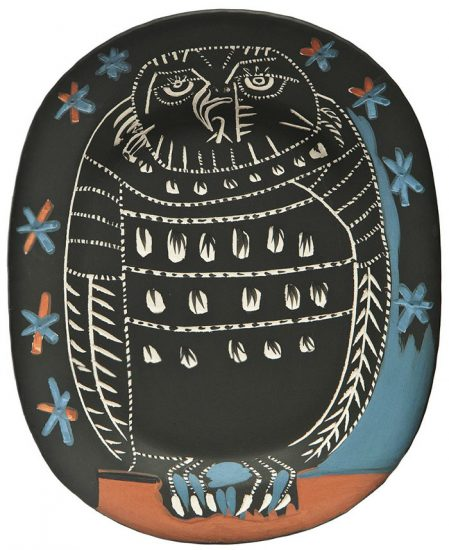 Pablo Picasso Ceramic, Hibou Mat, 1955 A.R. 284