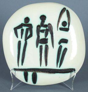 Pablo Picasso Ceramic, Trois Personnages sur Tremplin (Three Figures on a Trampoline), 1956