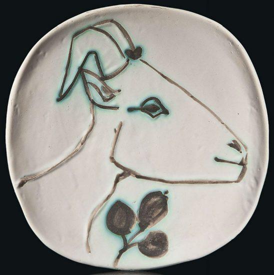 Pablo Picasso Ceramic, Tête de chèvre de profil (Goat's Head in Profile), 1950 A.R. 106