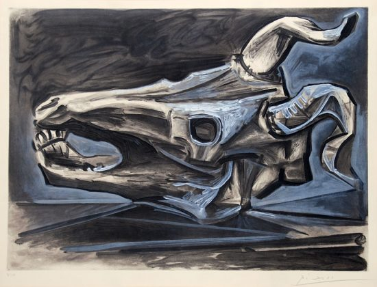 Pablo Picasso Etching, Crâne de Chèvre Sur la Table (Goat's Skull on the Table), 1953
