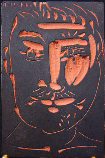 Pablo Picasso Lithograph, Man's Face, 1966 A.R. 539