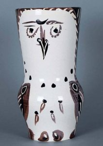 Pablo Picasso Ceramic, Maroon/Black Wood-Owl, 1952
