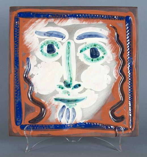 Pablo Picasso Ceramic, Visage aux cheveux bouclés (Curly Haired Face), 1968-1969
