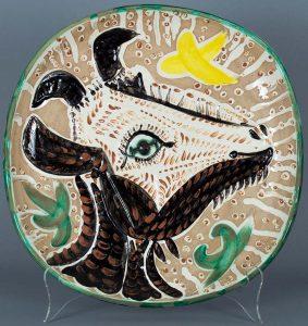 Pablo Picasso Ceramic, Tete de chevre de profil (Goat's Head in Profile) 1952