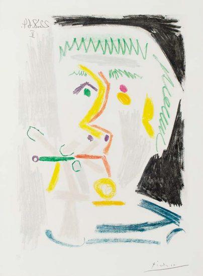 Pablo Picasso Lithograph, Fumeur à la Cigarette Verte (Smoker with Green Cigarette), 1964