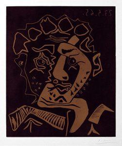 Pablo Picasso Linocut, Le Danseur, Tête d'Histrion (The Dancer, Head of an Actor), 1965