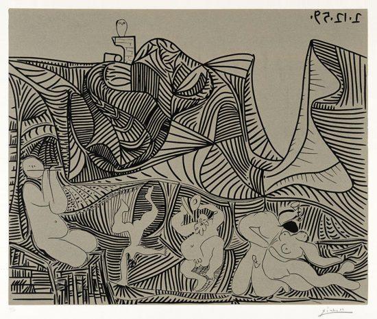 Pablo Picasso Linocut, Bacchanale au hibou (Bacchanale with Owl), 1959