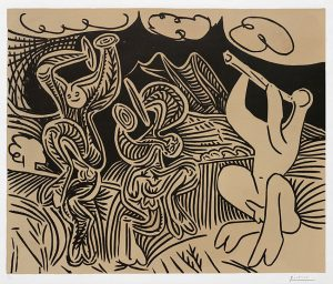 Pablo Picasso Artwork, Pablo Picasso Danseurs et musicien (Dancers and musician), 1959