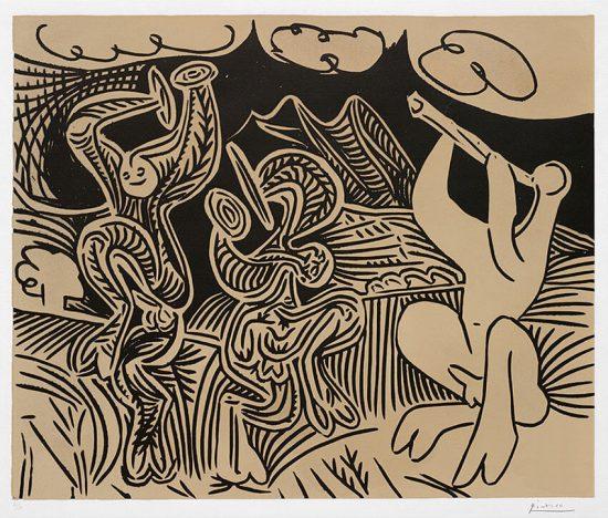 Pablo Picasso Linocut, Danseurs et musicien (Dancers and musician), 1959