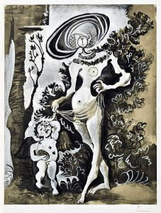Pablo Picasso Lithograph, Vénus et l'Amour, d'après Lucas Cranach l'Ancien, (Venus and Cupid , after Lucas Cranach the Elder), 1957