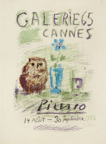 Pablo Picasso Lithograph, Hibou, Verre et Fleur (Owl, Glass and Flower), 1956