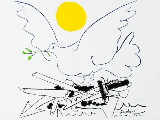 Pablo Picasso Lithograph, Colombe au soleil (Dove with Sun), 1962