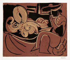 Pablo Picasso Linocut, Femme couchée et homme à la guitare (Reclining Woman and a Man with a Guitar), 1959