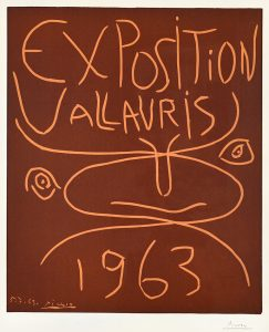 Pablo Picasso Linocut, Exposition Vallauris, 1963