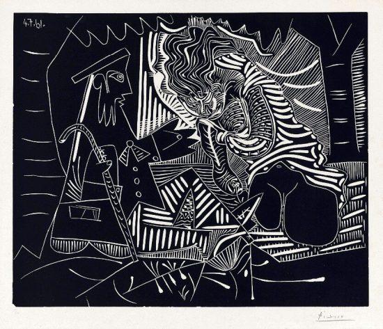 Pablo Picasso Linocut, Pablo Picasso Le Dejeuner sur l'Herbe (Luncheon on the Grass), 1961