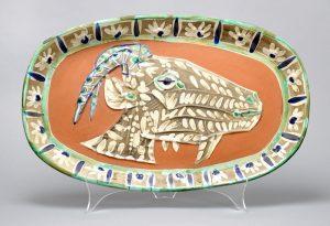 Pablo Picasso Ceramic, Madoura PlateGoat's Head in Profile (Tete de chevre de profil), 1952