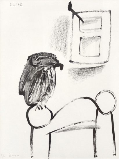 Pablo Picasso Lithograph, Le hibou au fond blanc (Owl with White Background), 1947