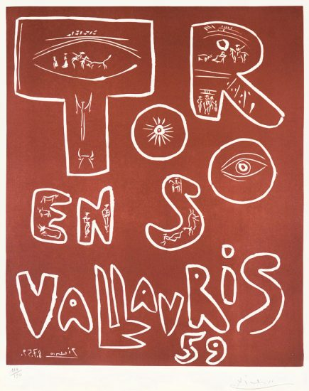 Pablo Picasso Linocut, Toros en Vallauris, 1959