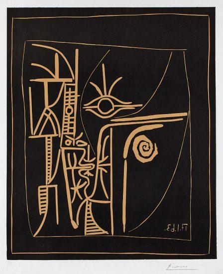 Pablo Picasso Linocut, Tete (Head), 1963