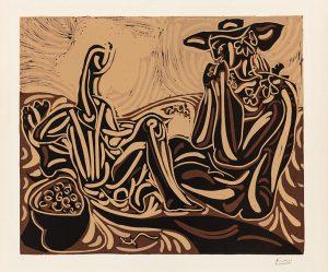 Pablo Picasso Linocut, Les vendangeurs (The Grape Harvesters), 1959