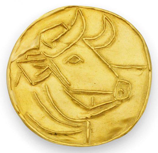 Pablo Picasso Gold, Taureau (Bull), 1956