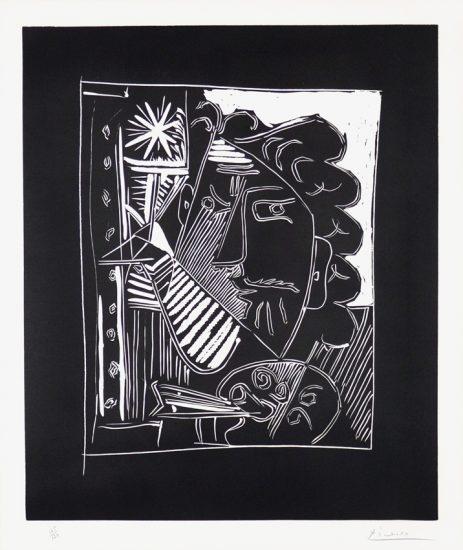 Pablo Picasso Linocut, Pablo Picasso Le Peintre à la Palette (Painter with Palette), 1963