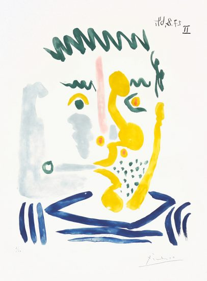 Pablo Picasso Aquatint, Pablo Picasso Fumeur Barbu (Bearded Smoker), 1964