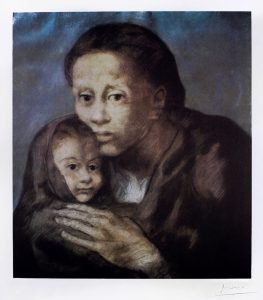 Pablo Picasso Lithograph, Mère et enfant au fichu (Mother and Child with Shawl), from Barcelona Suite, 1966