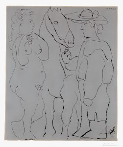 Pablo Picasso Linocut, Picador debout avec son cheval et une femme, 1959
