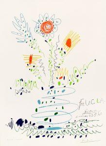 Pablo Picasso Lithograph, Fleurs (For U.C.L.A), Flowers for UCLA, 1961