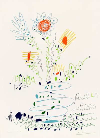 Pablo Picasso Lithograph, Fleurs (For U.C.L.A), Flowers for UCLA, 1961