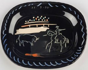 Pablo Picasso Ceramic, Corrida sur fond noir (Corrida on Black Ground), 1953