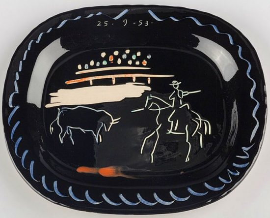 Pablo Picasso Ceramic, Corrida sur fond noir (Corrida on Black Ground), 1953 A.R. 198