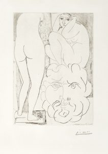 Pablo Picasso Etching, Crouching Model, Sculpture of Back and Bearded Head from the Vollard Suite ,1933