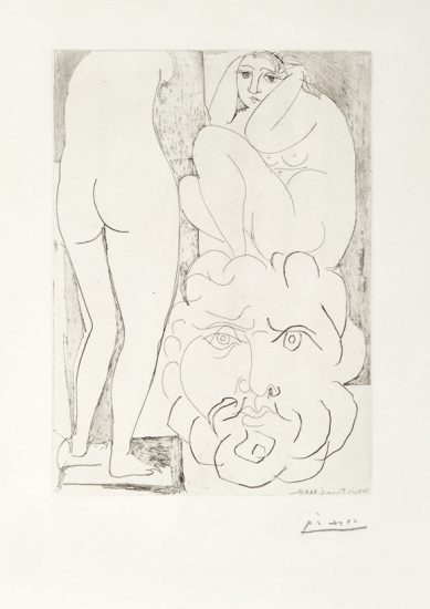 Pablo Picasso Lithograph, Modele Accroupi, Sculpture de  Dos et Tete Barbue (Crouching Model, Sculpture of Back and Bearded Head) from the Vollard Suite, 1933