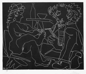 Pablo Picasso Linocut, Le peintre et son modèle (The Painter and the Model), 1965