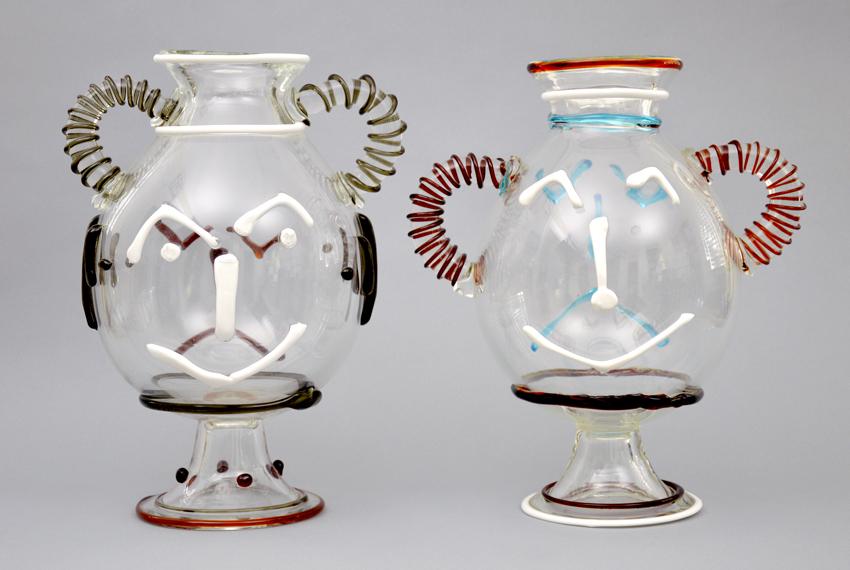 Pablo Picasso Vase En Verre Avec Deux Visates Glass Vase With Two