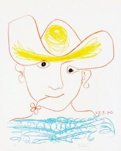 Pablo Picasso Lithograph, Un homme avec une fleur (A Boy with a Flower), 1970