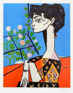 Pablo Picasso Lithograph, Jacqueline with Roses, 1956