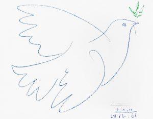 Pablo Picasso Lithograph, La Colombe Bleue (Blue Dove), 1961