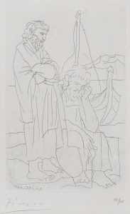 Pablo Picasso Etching, Deux vieillards et voilier (Two Old Men and a Ship), Pl. 4 from Lysistrata, 1934